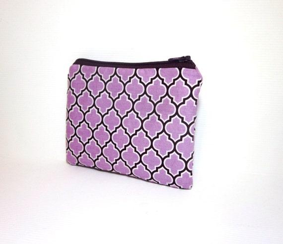 Small Zipper Pouch - Lattice in Lilac and Purple