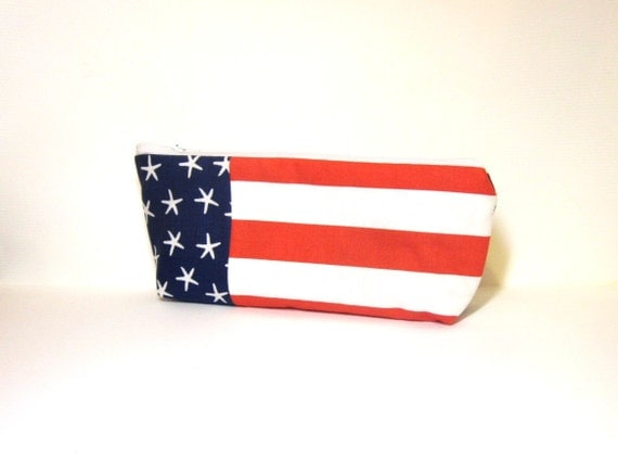 Medium Cotton Cosmetic Pouch - .Red, White and Blue Flag