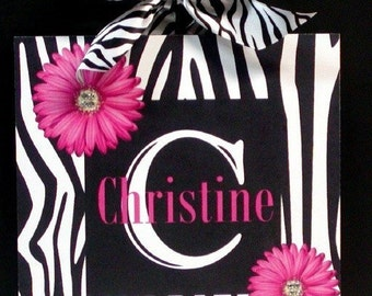 Zebra Animal Print and Flowers Personalize With Your Name Wooden Wall Plaque