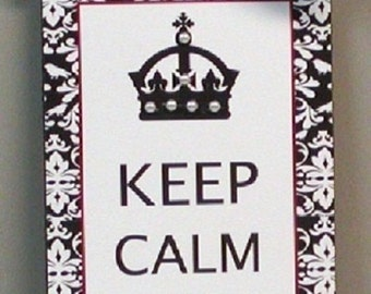 Keep Calm and Carry On Damask Wooden Wall Plaque