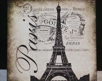 Paris Eiffel Tower Shabby Wood Wall Plaque