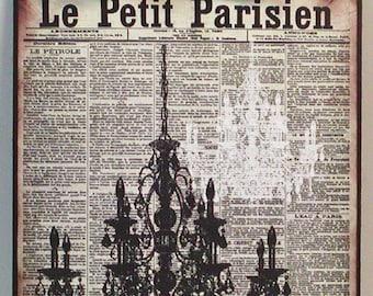 Vintage French Newspaper Antique Paris Chandelier Custom Wooden Wall Plaque