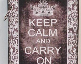 Keep Calm and Carry On Custom Wood Blank Journal Diary