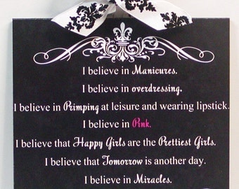 Audrey Hepburn I Believe in Pink Damask and Fleur De Lis Wood Wall Plaque Part 2