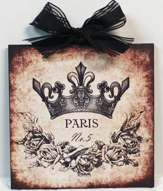 Paris Vintage Crown and Roses Wood Wall Plaque