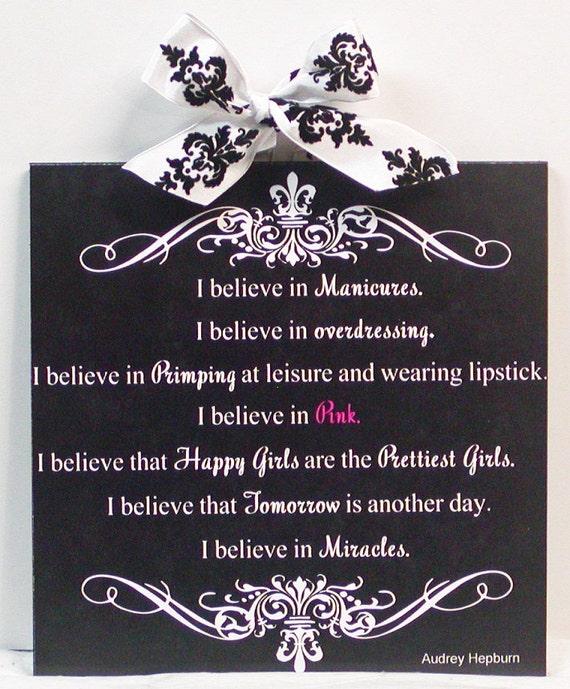 Audrey Hepburn I Believe in Pink Damask and Fleur De Lis Wood Wall Plaque Part 2