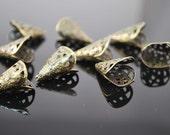 Antique Brass Bead Caps - Filigree cones - 10 pcs - Intricate, MB022