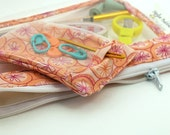 Small bag for knit or crochet tools- tangerine flower fabric and vinyl with stitch marker pouch