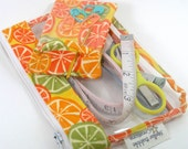 Small bag for knit or crochet tools- citrus fabric and vinyl with stitch marker pouch