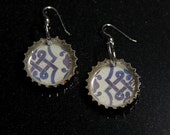 Recycled Bottle Cap Resin Earrings - Blue\/White Mexican