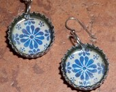 Recycled Bottle Cap Resin Earrings - Blue Mexican