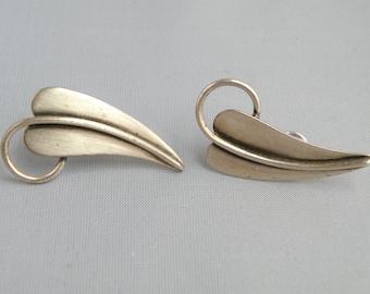 Vintage Sterling Silver leaf earrings.  Signed ORB