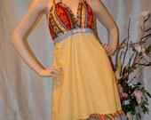 Hippie Patchwork Halter Dress On Sale