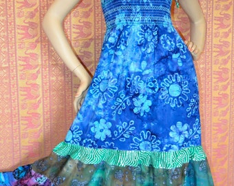Blue Batik Gypsy Hippie Patchwork Dress  Sale