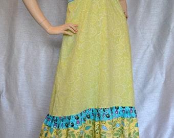 Green Leaves Hippie Patchwork Halter Dress SALE