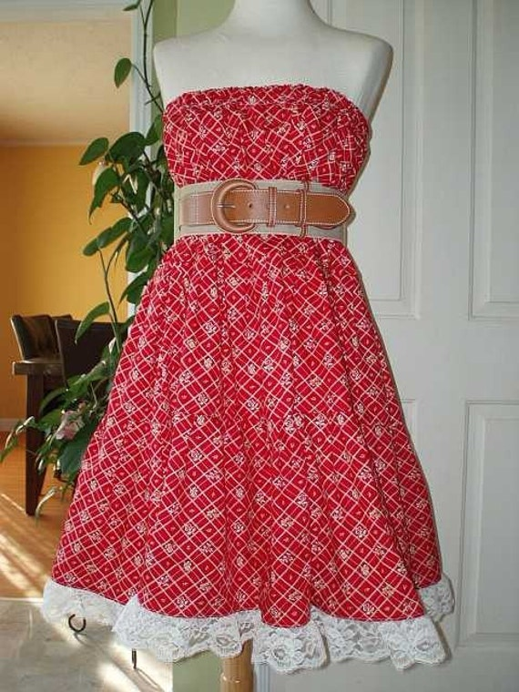 Red Hippie Skirt Or Tupe Top Dress