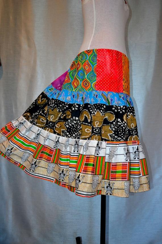Batik African Wax Print Hippie Patchwork Skirt
