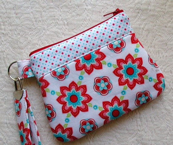 Small Curvy Zippered Wristlet- Sugar and Spice in Red and Aqua