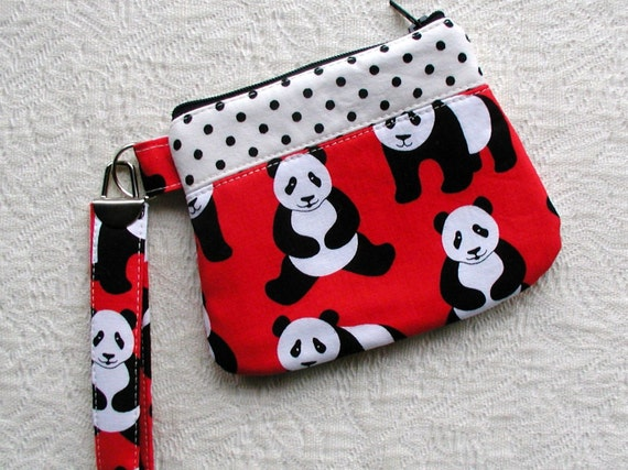Small Curvy Zippered Wristlet ...Pandas in Red