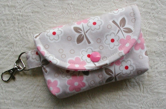 Small Snap Pouch w/ Key Clasp ...Millie's Closet Floral in Pink