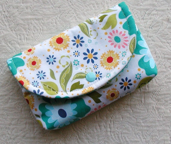 Large Snap Pouch ...Apple of My Eye Floral in Teal