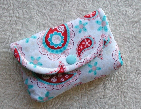 Small Snap Pouch Card Case Coin Purse ... Sugar and Spice Paisley in Red and Aqua