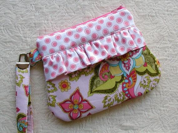 Ruffle Wristlet  Zippered Wristlet Curvy Wristlet... Bohemian Festival in Pink