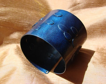 1 Bohemian Night  Blue   Stars Dust  Aluminum Cuff Abstract  one of a kind Made in Canada