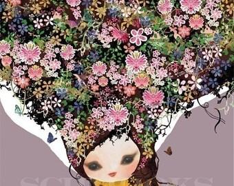 LARGE Childrens Room Art Floral Print - 'Secret Garden'