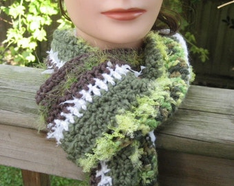 Green, White and Brown Crocheted Scarf 8/11/S