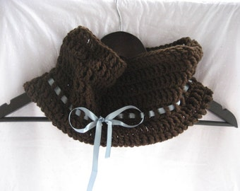 Brown Crocheted Cowl with Blue Ribbon C3/11