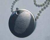 Custom Fingerprint Necklace-pendant Engraved forensics CSI memory keepsake- custom Thumbprint
