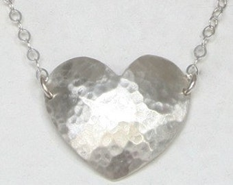 Heart silver necklace Love necklace pendant hammered silver heart on silver chain