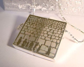 Western wall wish necklace Engraved Wish Prayer Locket-Israel-Hebrew-Jewish Kotel Jerusalem