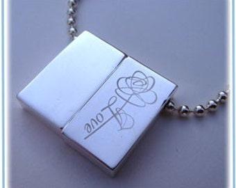 Rose Love Locket Engraved Wish-Prayer-necklace-Personalization Option custom
