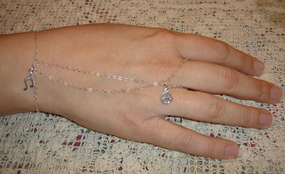 Silver Slave Bracelet (ring) Peace and Music charms Star Cross flower heart wishbone horseshoe