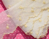 Vintage Lace Trim Organza Trim Embroidered Yellow Flowers