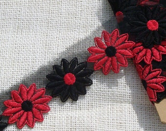 Vintage Lace Trim Daisy Trim Flower Trim Red Black
