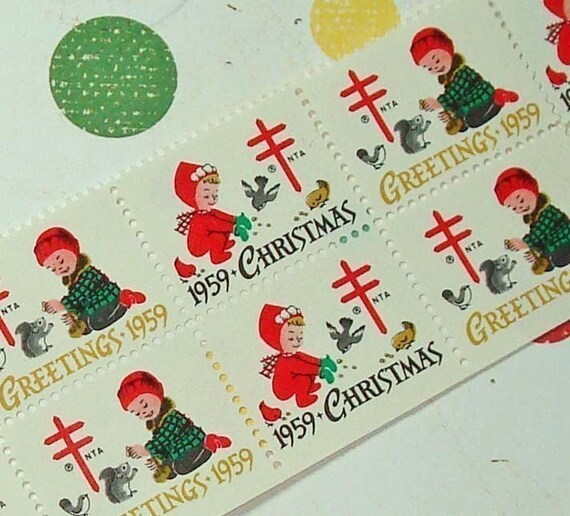 Vintage Christmas Seals 1959 Vintage Paper Ephemera