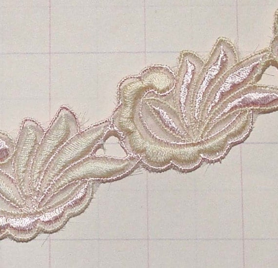 Vintage Trim Organza Trim Light Pink Trim with Embroidery -- Last Piece