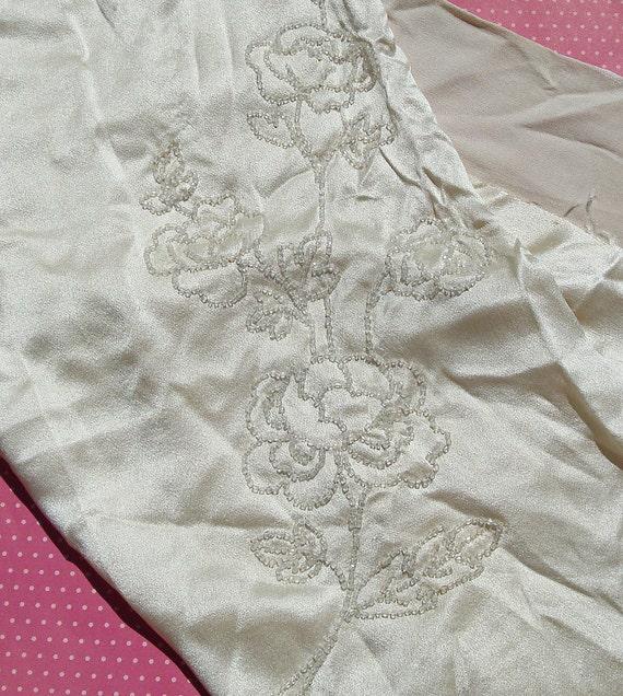 Vintage Fabric Silk Satin Vintage Fabric Beaded Roses ON SALE