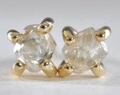 0.40 carat rough diamond earrings - 18k yellow gold
