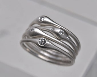 Wave rings - silver & diamond stacking ring set of 4