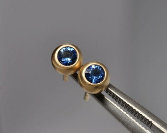 ceylon blue sapphire bezel earrings- 18k gold