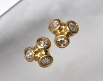 Anemone rose cut diamond earrings - 18k gold