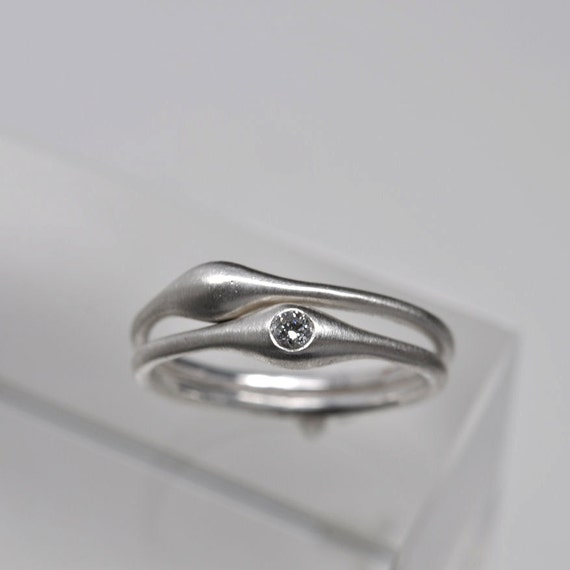 Wave ring pair - sterling silver & diamond rings