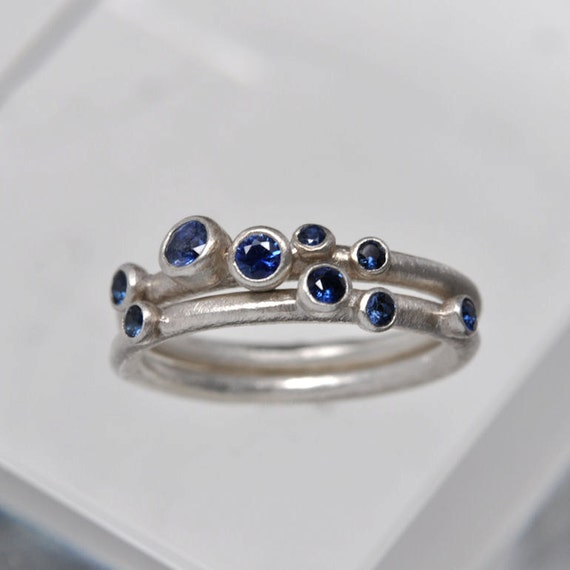 Sapphire anemone ring set of 2 - sterling silver.