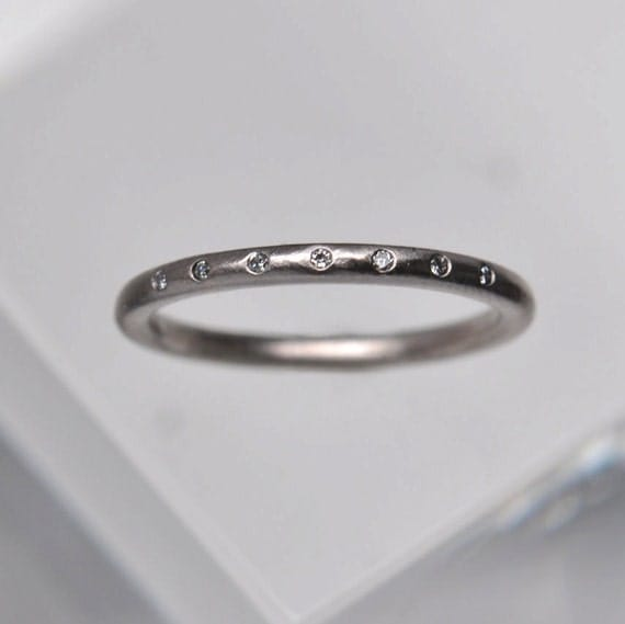 7 diamond wedding band - 18k palladium white gold