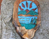 A New Day Dawning Inlay Turquoise malachite and Coral in Rare Spalted Myrtlewood Burl