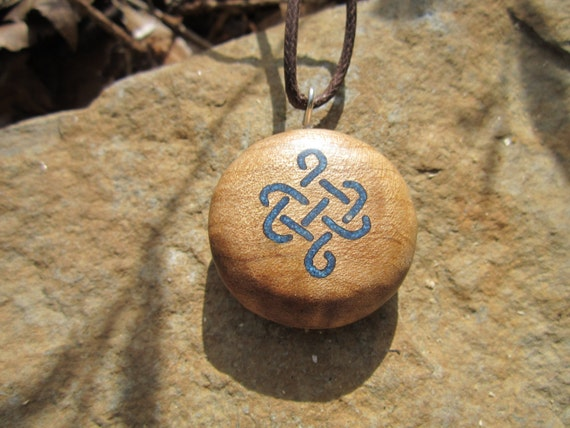 Lapis Love Knot Pendant- Lapis Inlay in Wooden Necklace- Celtic Knot Pendant